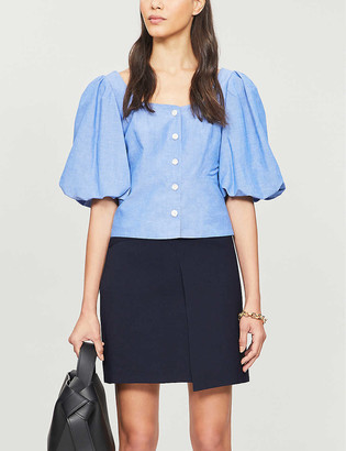 Sandro Mayan puffed-sleeve lyocell, cotton and linen-blend blouse