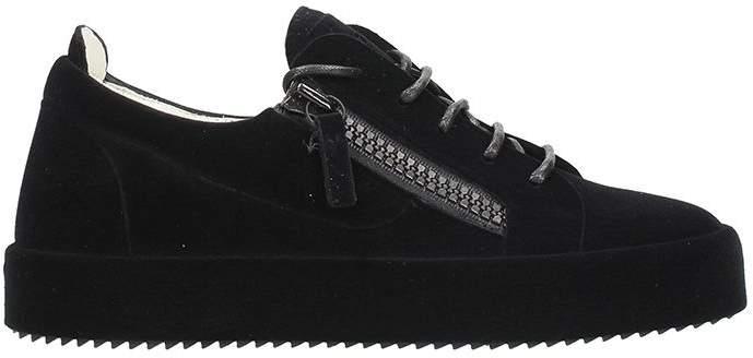 Giuseppe Zanotti Black Velvet Low Sneakers