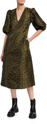 Ganni Leopard-Print Crispy Jacquard Puff-Sleeve Midi Dress