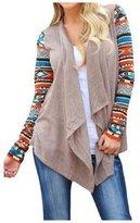 Qissy@Women Comfortable Cardigan Coat Stripe Cotton Shawl Irregular Style (L, )