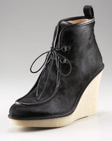 Willow Lace-Up Calf-Hair Bootie