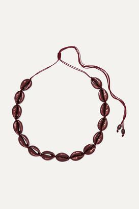 Puka Tohum - Large Faux Shell Necklace - Burgundy