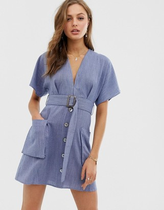 Moon River plunge dress with belt and pockets-Navy