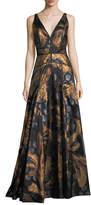 J. Mendel Sleeveless V-Neck Brocade Gown
