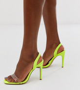 Truffle Collection wide fit clear strap barely there square toe heeled sandals in lime