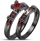 TVS-JEWELS 2 Pcs Rhodium Plated Round Cut Red Garnet Wedding Engagement Bridal Ring Jewelry Set (11.25)