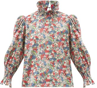 Horror Vacui Collia Smocked Floral-print Cotton Top - Multi