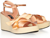 Bow-embellished satin wedge sandals