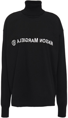 MM6 MAISON MARGIELA Printed Cotton-jersey And Wool Turtleneck Sweater