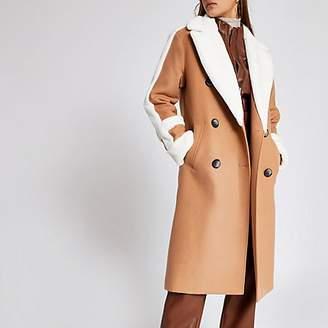 River Island Beige faux fur trim double breasted coat