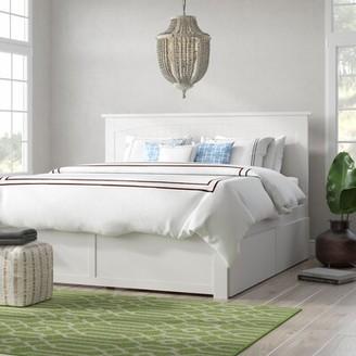 Beachcrest HomeTM Graham King Storage Platform Bed Beachcrest Home Color: White