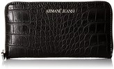 Armani Jeans Croc Printed Eco Leather Zip Wallet