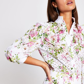 River Island Womens Pink floral broderie frill blouse