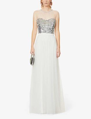 Jenny Packham Blaine sleeveless crystal-embellished gown