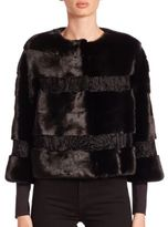 Carmen Marc Valvo Cropped Mink & Lamb Fur Jacket