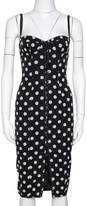 Dolce & Gabbana Black Polka Dot Silk Lace Up Corset Dress S