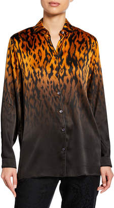 Etro Leopard Ombre Satin Long-Sleeve Blouse