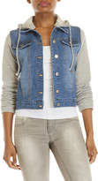 Love Tree Knit Sleeve Hooded Denim Jacket