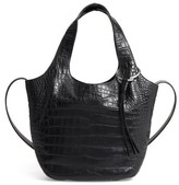Elizabeth and James Small Finley Embossed Leather Shopper - Black