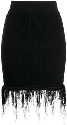 Balmain Knitted Fringed Skirt