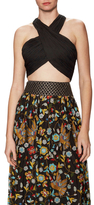 Alice + Olivia Tracee Cropped Crossover Halter Top