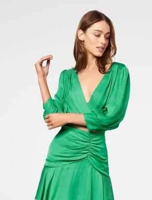 Forever New Ellery Jacquard Wrap Blouse - Green - 4