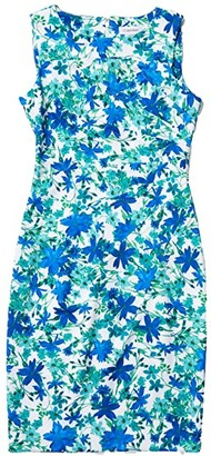 Calvin Klein Floral Print Starburst Sheath Dress (Atlantis Multi) Women's Dress