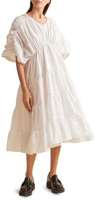 Merlette New York Athene Shirred Tiered Midi Poplin Dress