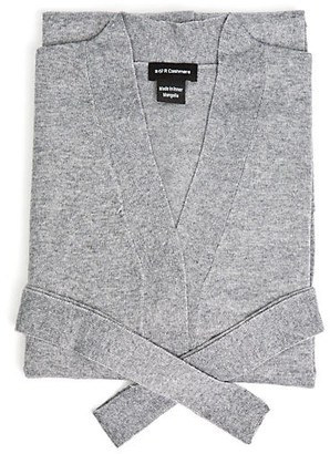 A & R Cashmere Cashmere-Blend Robe - Gray - a&R Cashmere - cream/black