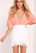 Missguided Cornelli Tassel Wrap Mini Skirt White