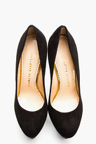 Charlotte Olympia Black Nappa Leather & Gold Dolly Pumps