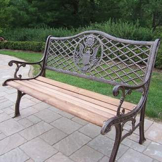 American Eagle Wood and Cast Iron Park Bench Oakland Living Color: Antique Bronze