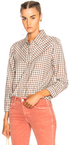 Amo Georgia Top in Red,Checkered & Plaid.