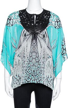 Roberto Cavalli Turquoise Blue Printed Silk Leather Trim Kaftan Top M
