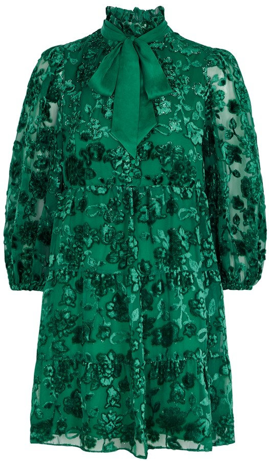 Alice + Olivia Octavia green floral-devore mini dress