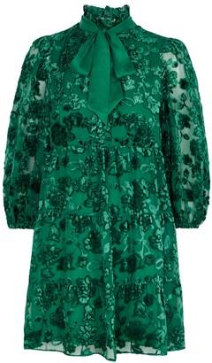 Alice + Olivia Octavia green floral-devore mini dress