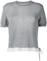 Miu Miu knitted short sleeve top - women - Cotton - 42