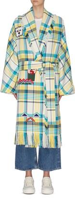 Mira Mikati Graphic print check wrap coat