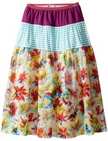 Junior Gaultier Purple, Blue and White Stripes, Floral Print 3 Tiered Skirt Girl's Skirt