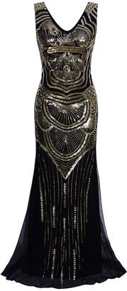 Vijiv 1920s Long Maxi Prom Gowns Sequin Mermaid Bridesmaid Wedding Evening Dress Black Gold