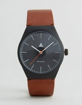 Asos Watch In Black With Tan Strap