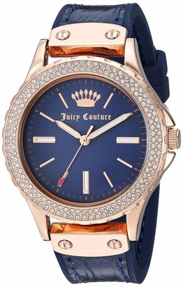 Juicy Couture Black Label Women's Swarovski Crystal Accented Rose Gold-Tone and Navy Blue Leather Strap Watch