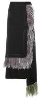 Christopher Kane Ostrich Feather-trimmed Satin Skirt