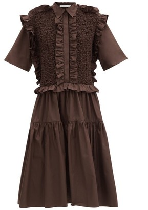 Cecilie Bahnsen Lydia Smocked Ruffled Cotton-poplin Shirt Dress - Brown