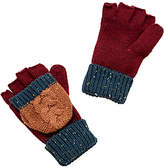 John Lewis Children's Neppy Block Stripe Flip Gloves, Burgundy/Blue