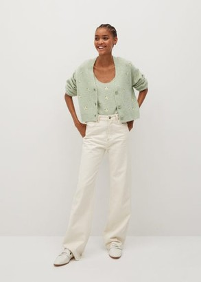 MANGO Embroidered flower top pastel green - XS - Women