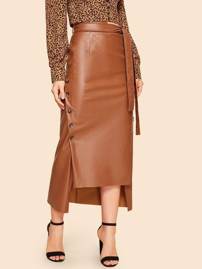 67005216b8 Full Leather Skirt - ShopStyle