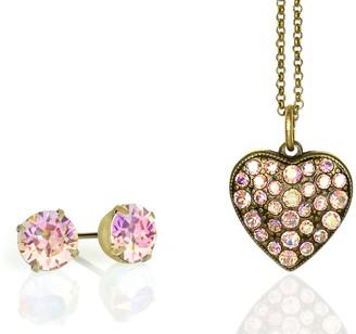 Anne Koplik Pink Swarovski Crystal Necklace & Earring Set