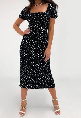 Missguided Black Print Tie Back Midi Smock Dress