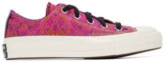 Converse Pink and Purple Snake Chuck 70 Ox Low Sneakers